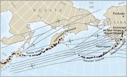 north pacific and russian far east air routes gray lines pass over or near more than a hundred potentially active volcanoes red triangles